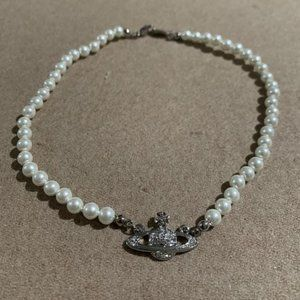Vivienne Westwood Silver Saturn Pearl Necklace